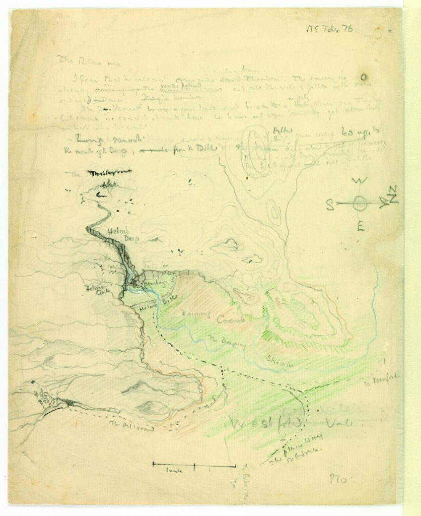 a hand drawn map by JRR Tolkien showing locations from his books