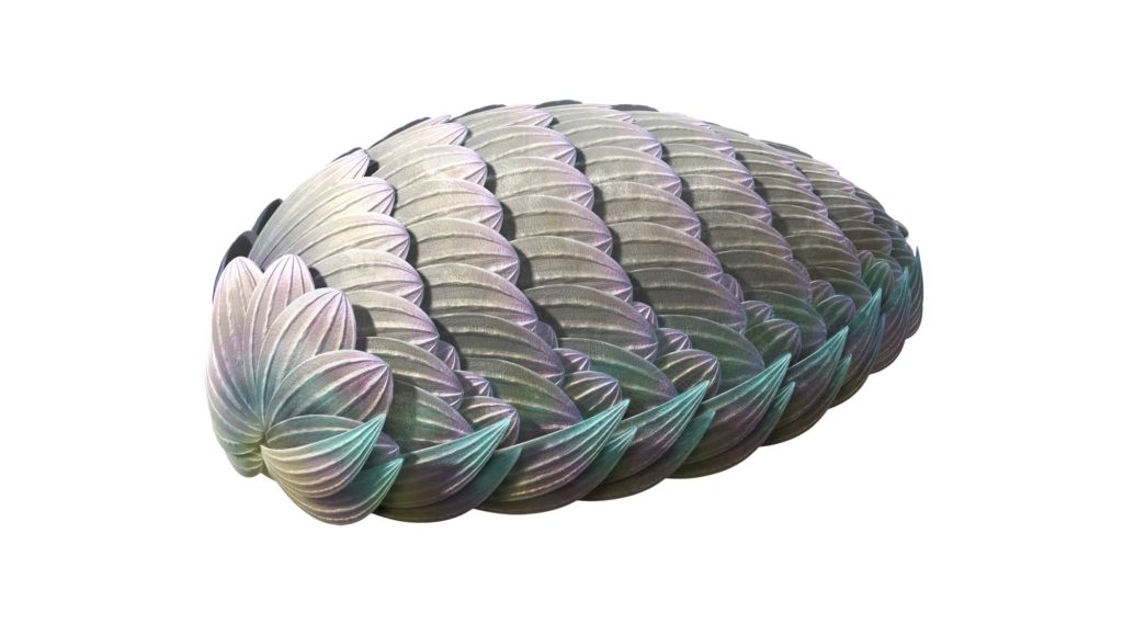a reconstructed photo of an oval creature with layered shell