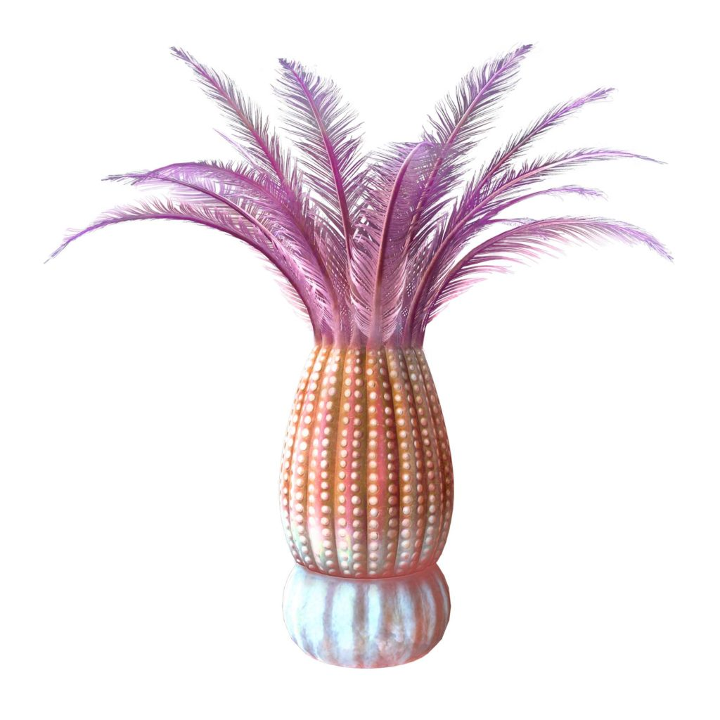 a recreation of a pineapple like creature with purple fronds emanating from its head