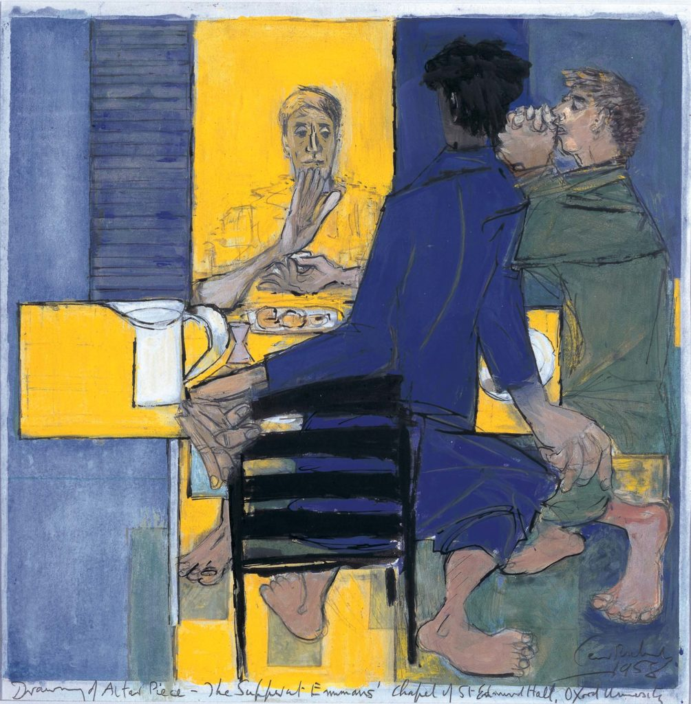 painting showing three figures sitting at table with food and drink in blue and yellow