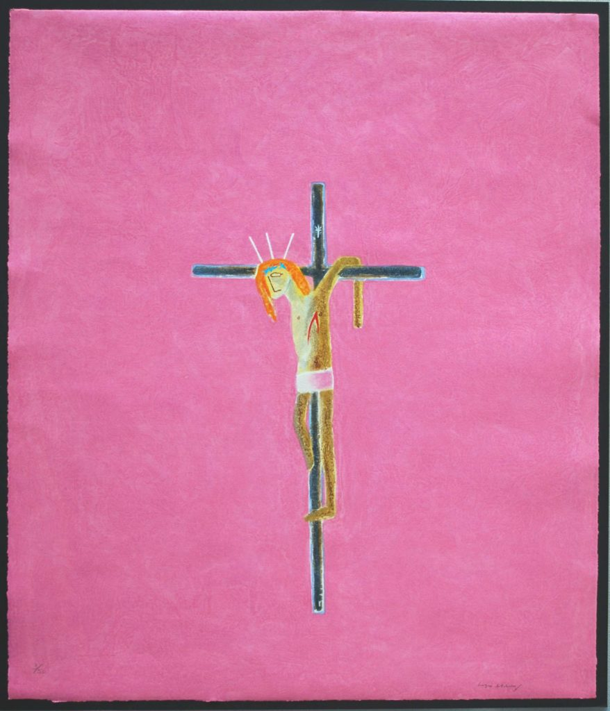 print showing figure being crucified on a bright pink background