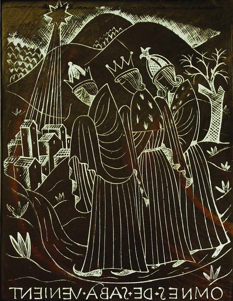 a woodcut print of the three kings approaching the stable
