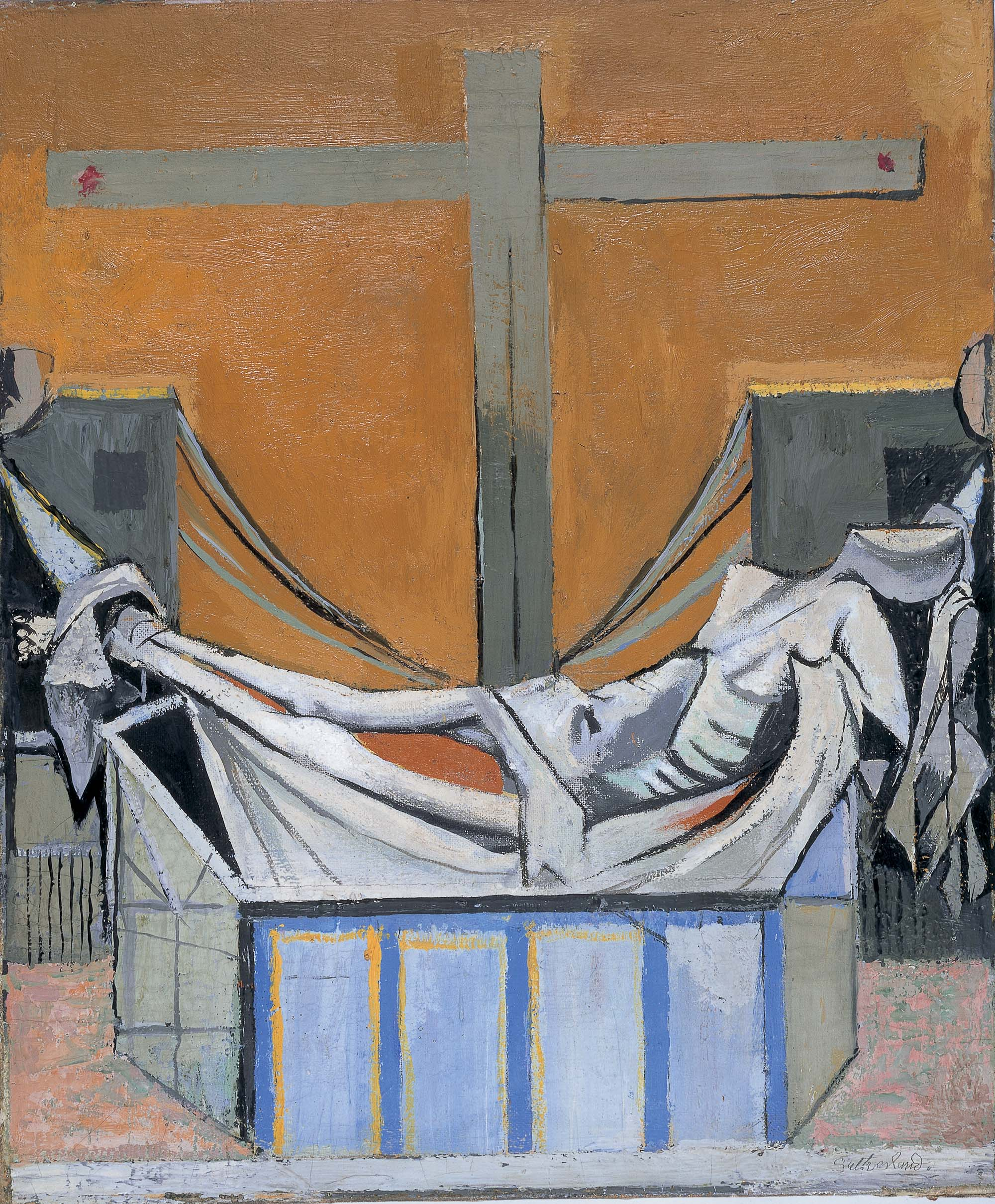 abstract painting showing the body of Christ laid across a tomb