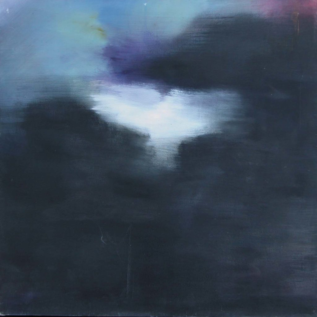 painting in dark blues with white abstract figure in the centre