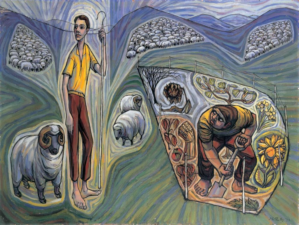 painting of shepherd with sheep and man working on vegetable patch