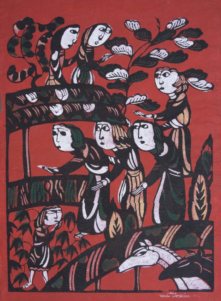 illustration showing figures bowing with outstretched hands on red background with floral designs