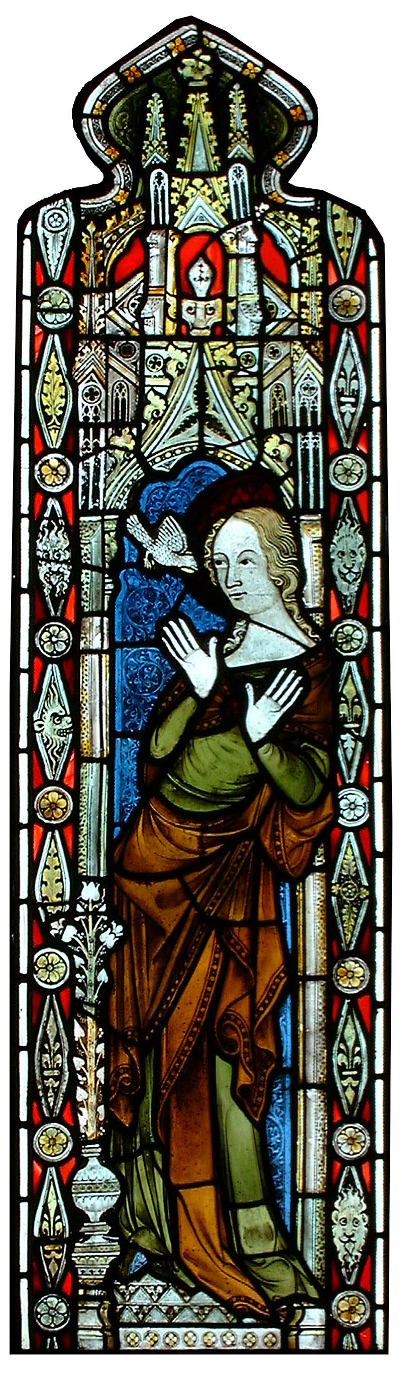 a long thin stained glass window with a representation of the virgin mary