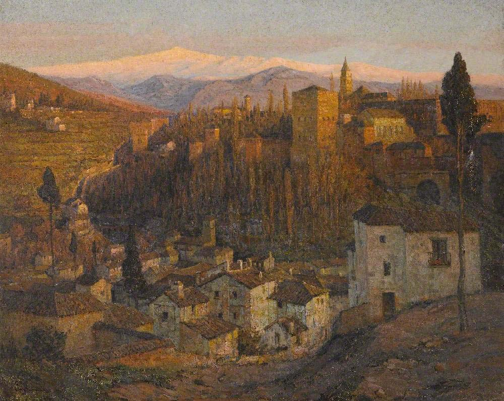 a painted scene of a Spanish town on a hillside