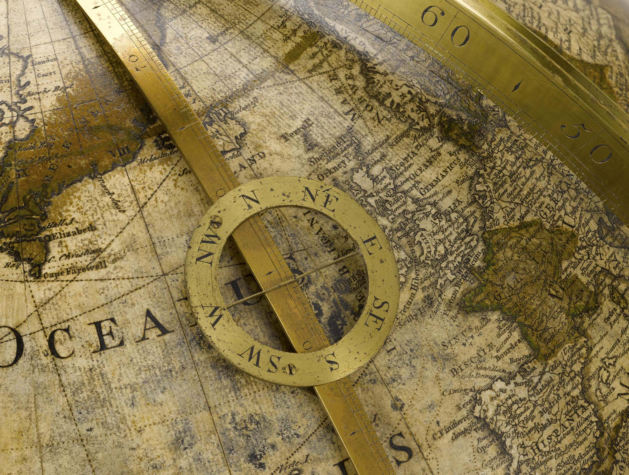 a close up of an old globe