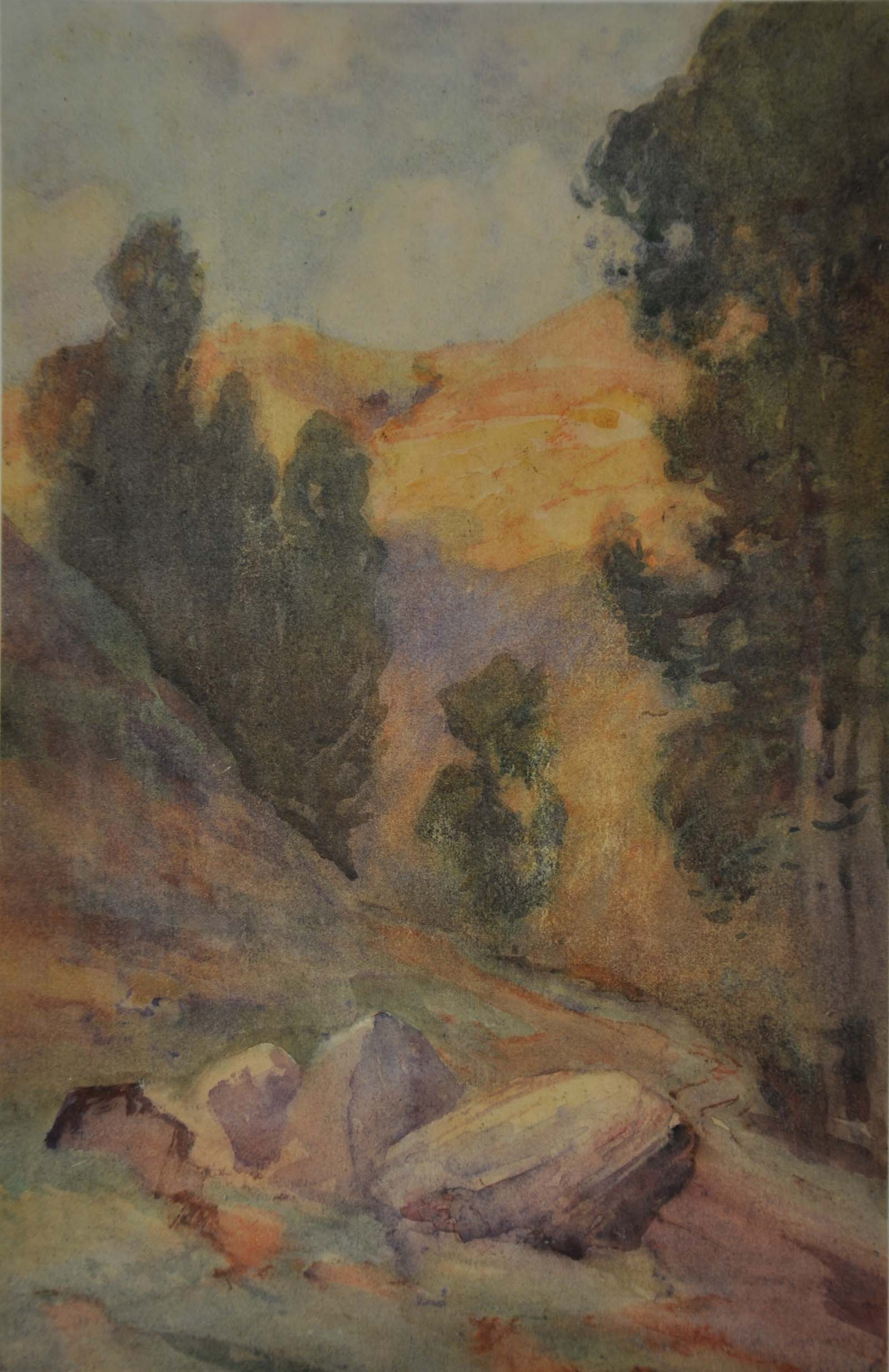 a watercolour of a valley lined with trees and with rocks in the foreground