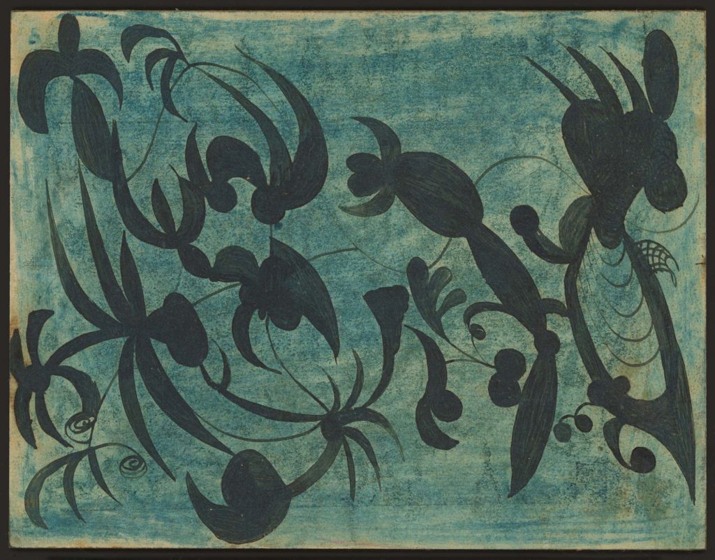a crayon drawing of black insect or plant like shapes on a turquoise background