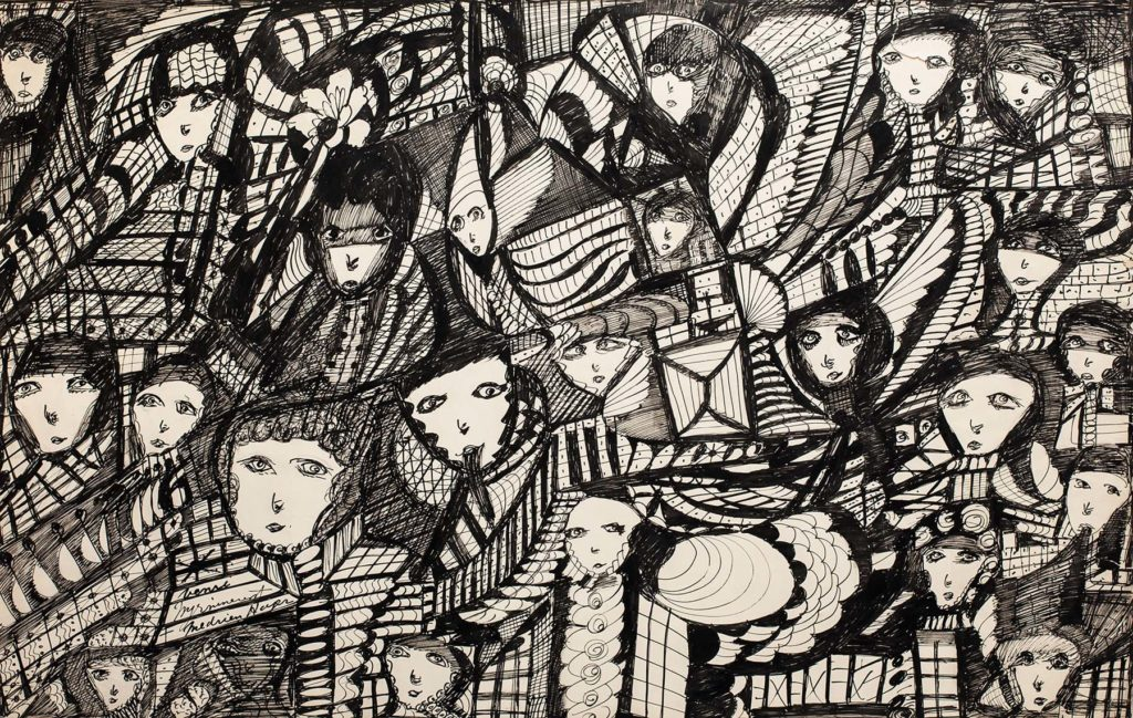a black ink drawing crowded with shapes and faces