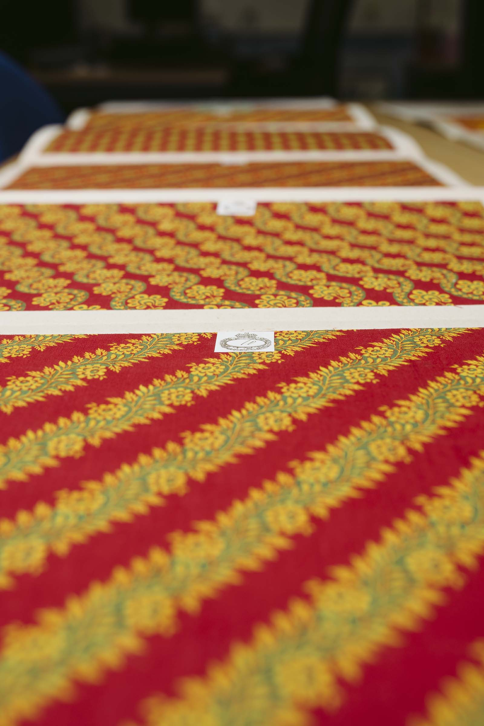 a photo of rows of textile samples