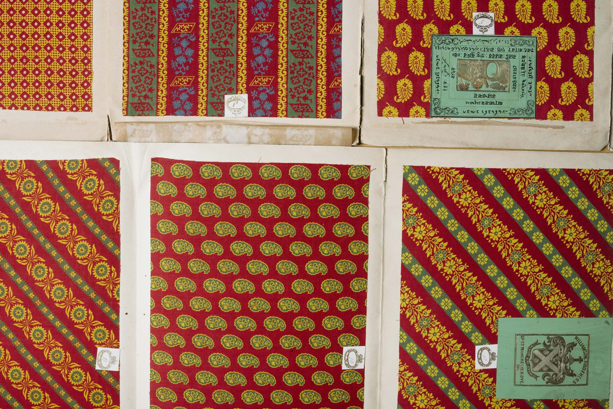 a photo of different samples of cloth in different patterns