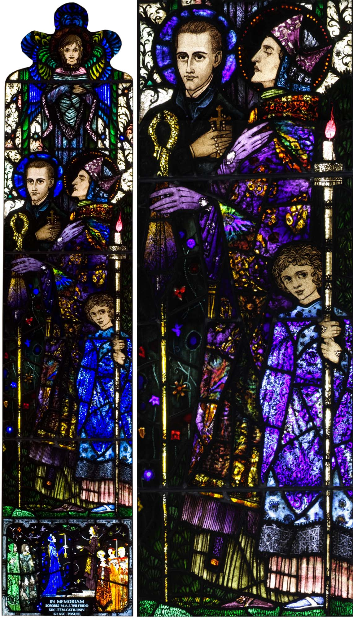 a composite photo shoing two views of a glass window with saints and angels