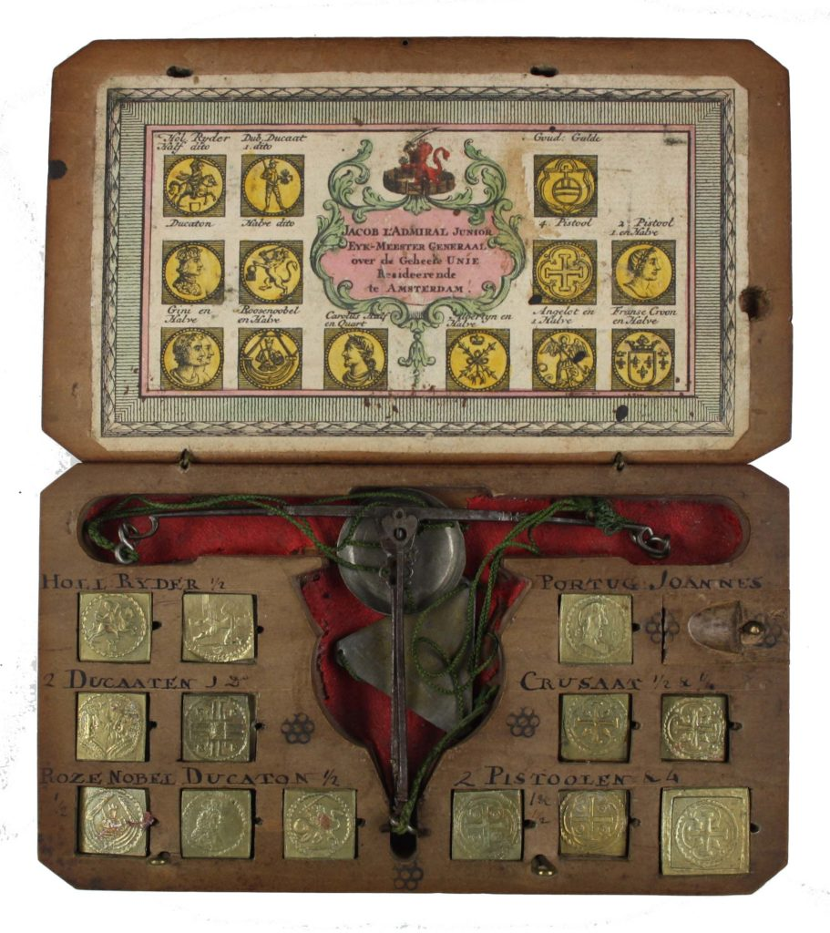 a boxed set of scales with golden weights