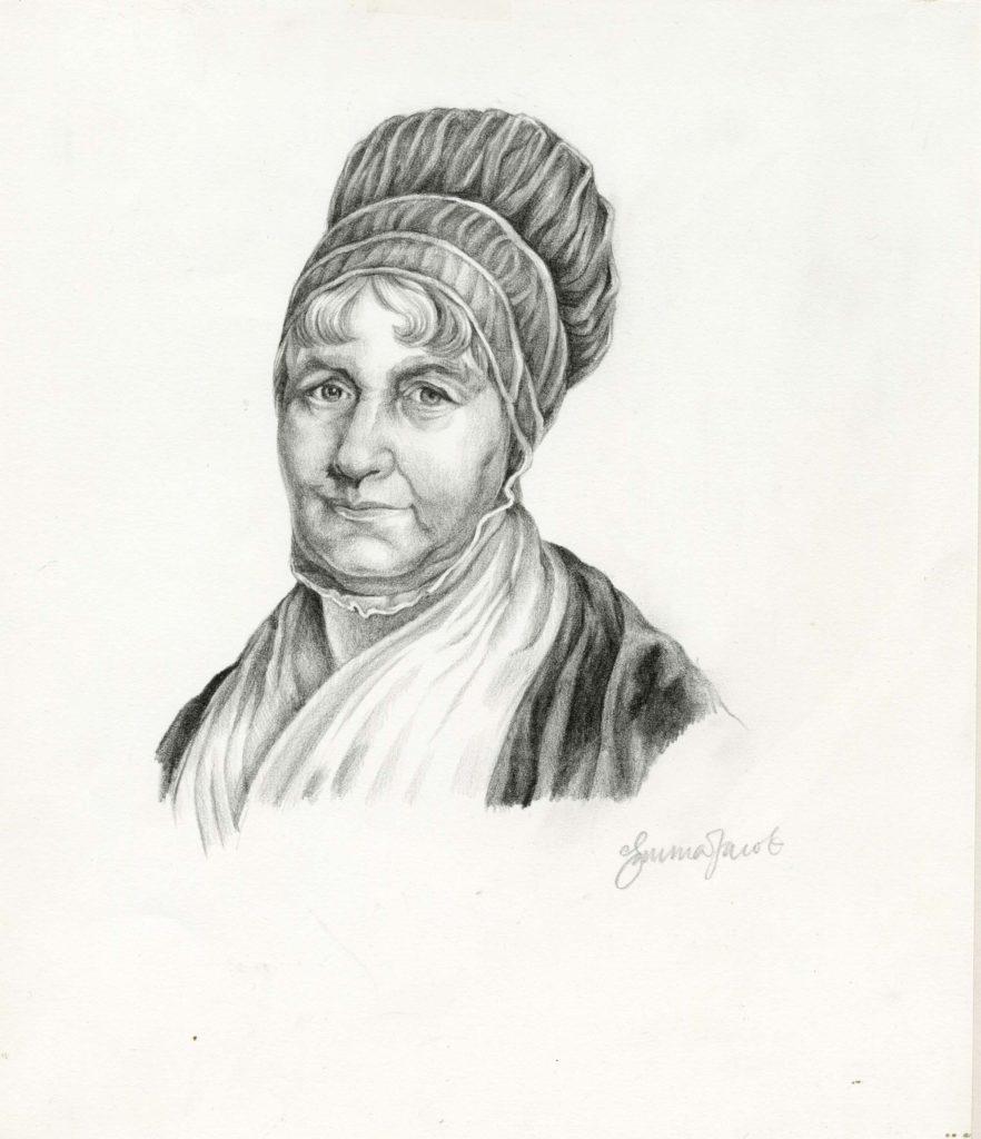 a drawing of a woman in Georgian headdress