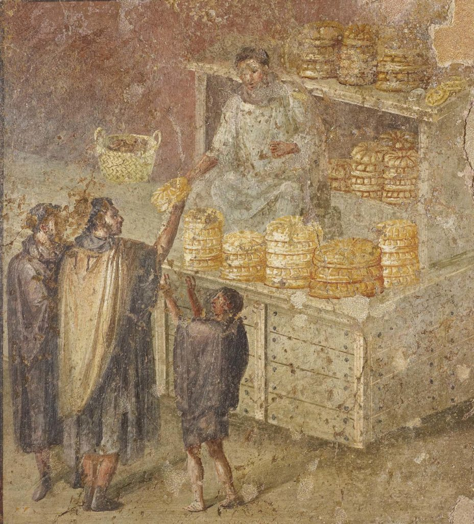 a fresco painting of a Roman bread seller