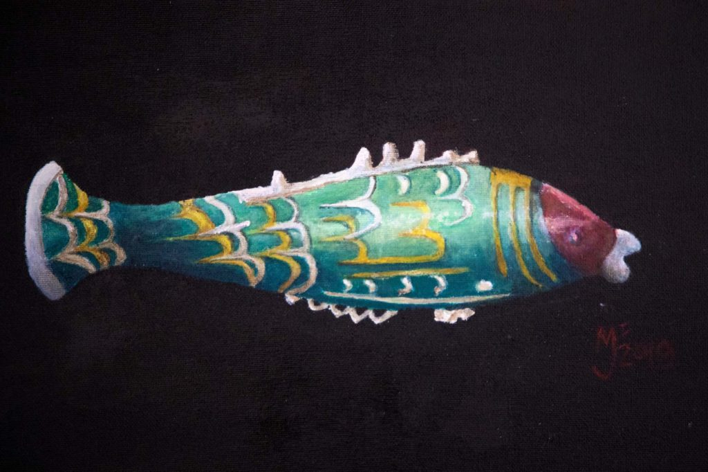 a drawing of a glass fish bottle