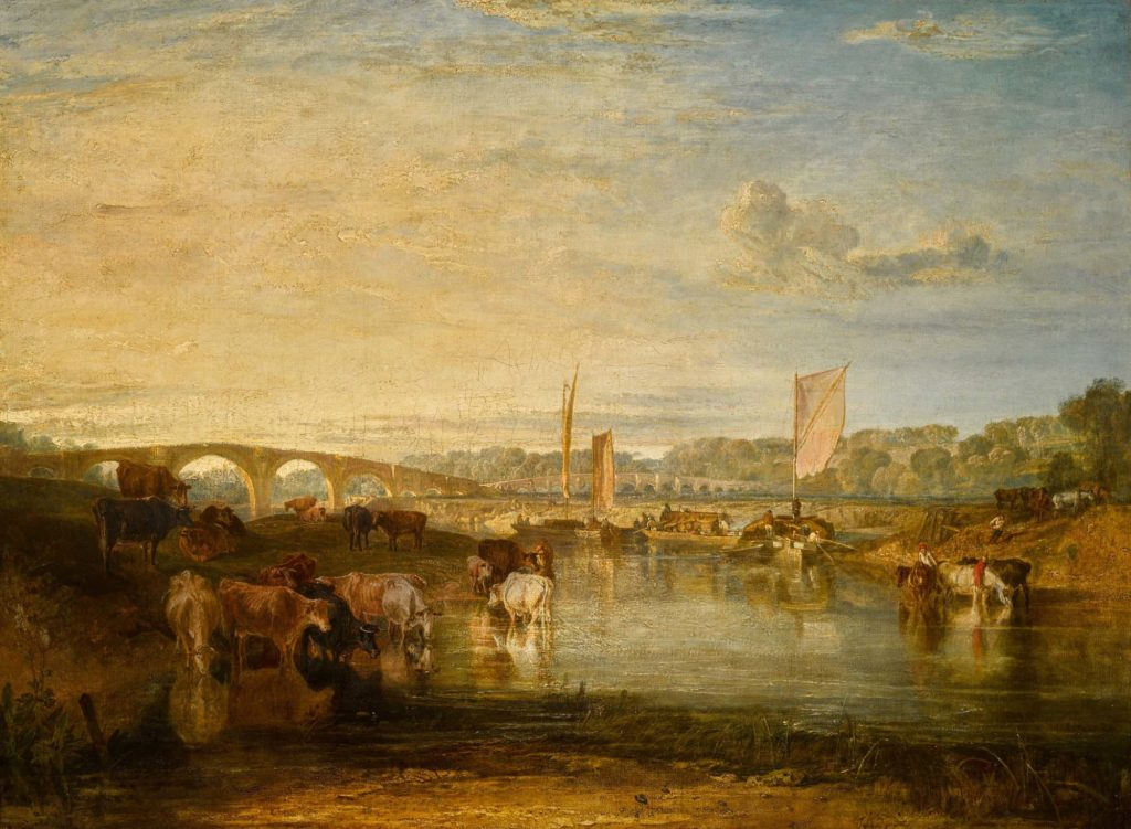 a pastorial view of bridge over river with barges slowly sailing across the background