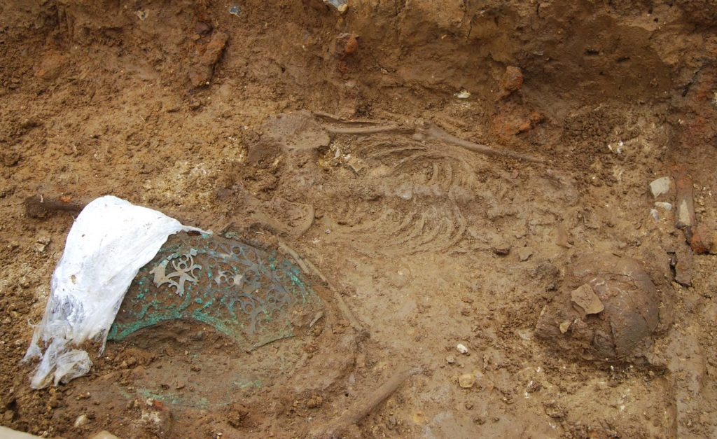 an archaeological dig showing partof a skeleton and the remains of a metal lattice work