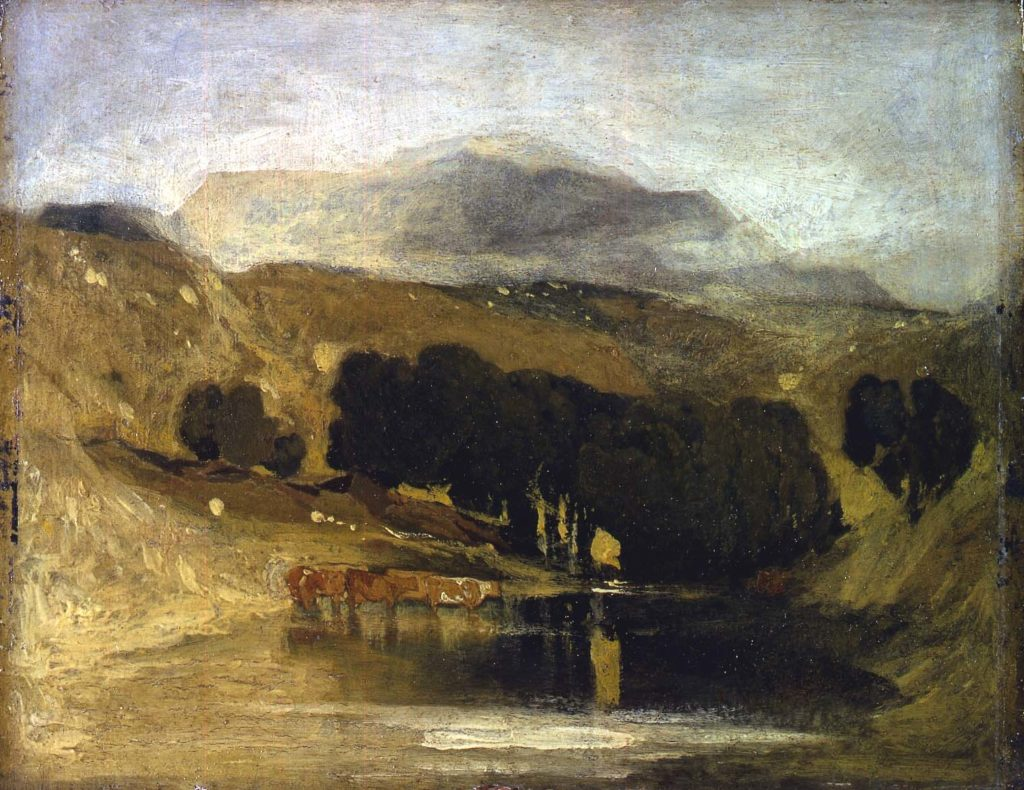 an oil painting showing a view across a lake