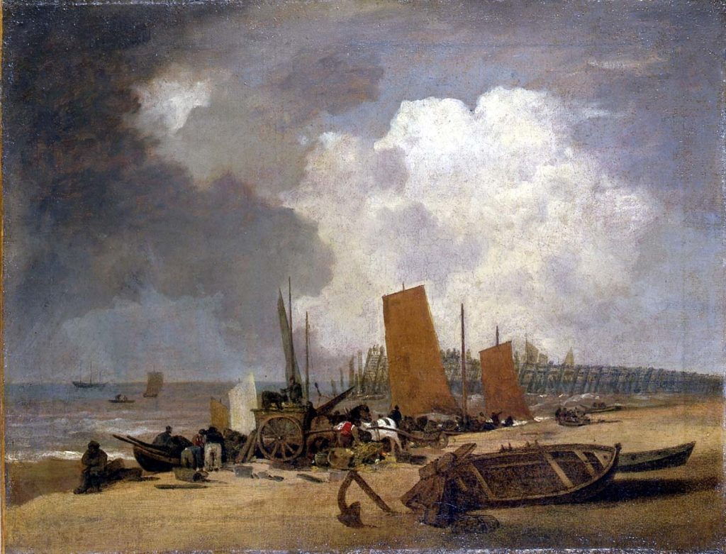 a painting of a beach scene with fishing sail boats on the shoreline