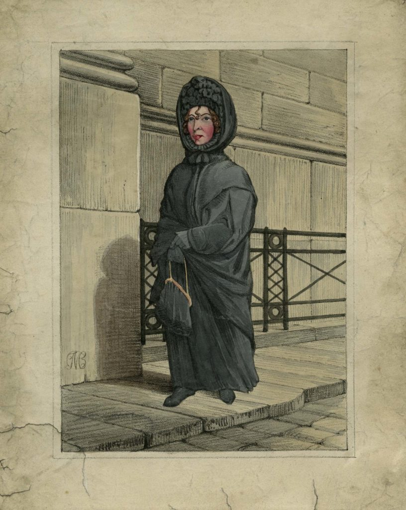 a watercolour of a woman dressed in black
