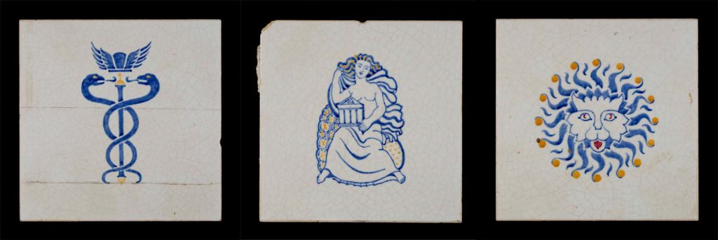 a set of three ceramic tiles with mythical figures painted on them