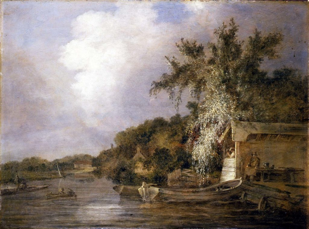 a painting showing a scene across a lake