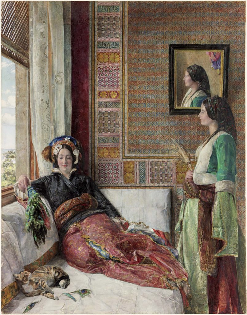 a painting of a Victorian Orientalist interior with two women, one seated on a couch the other standing