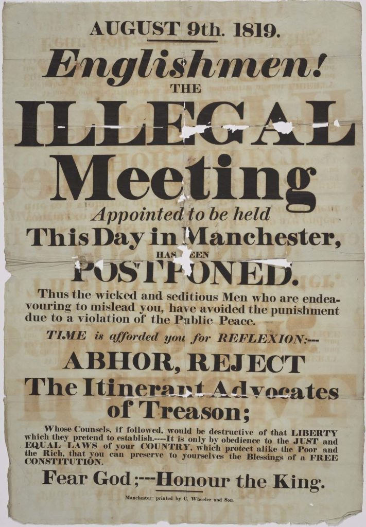 a printed poster stating of an illegal meeting has been postponed