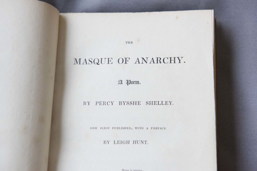 photo of the frontispiece of a book with the words Masque of Anarchy