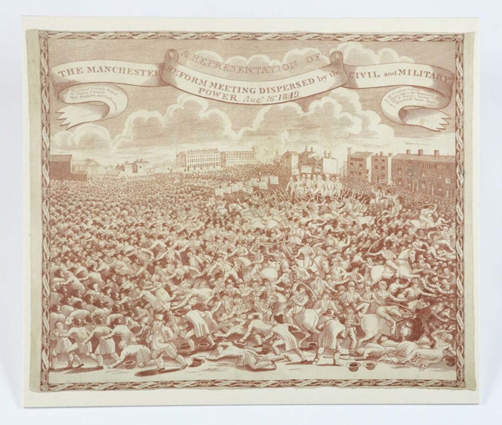 a handkerchief with a detailed etching of a large crowd at Peterloo