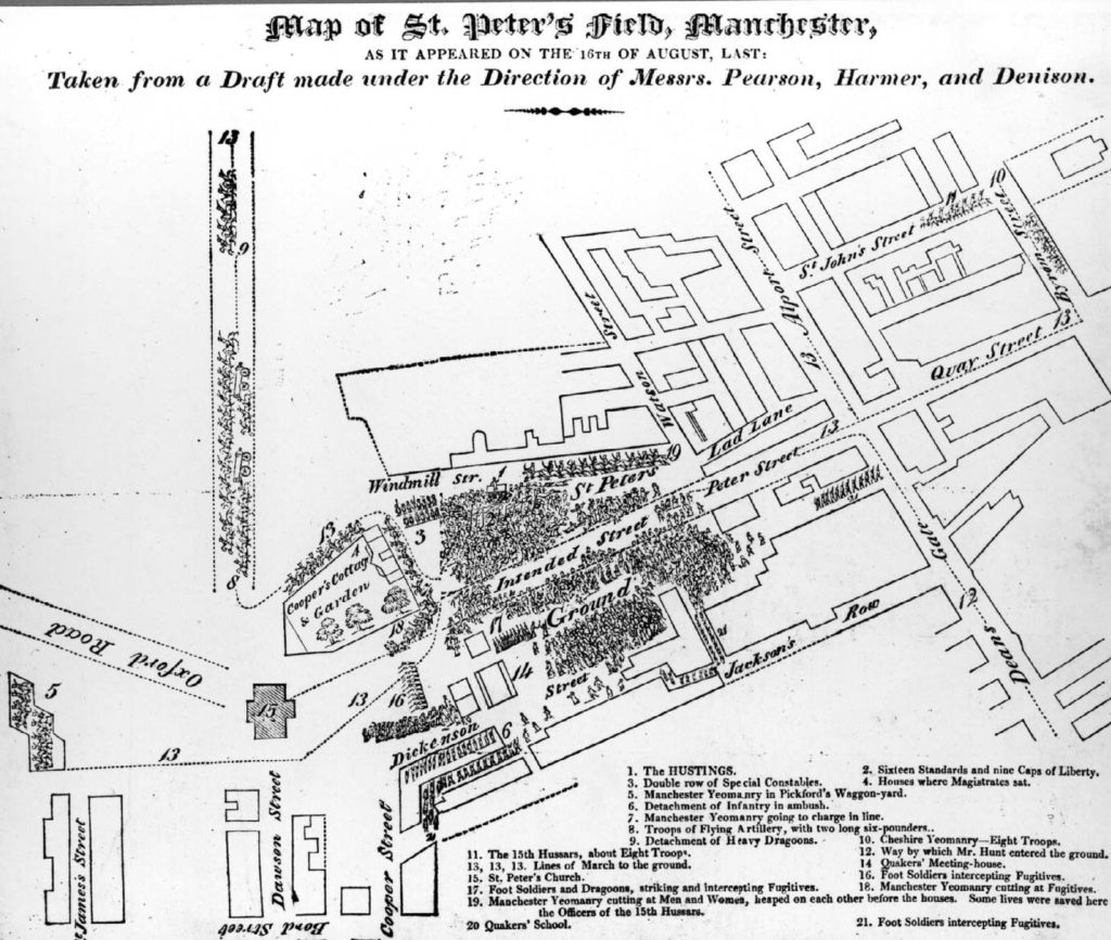 a map showing a lay out of buildings with a crowd depicted in an open square