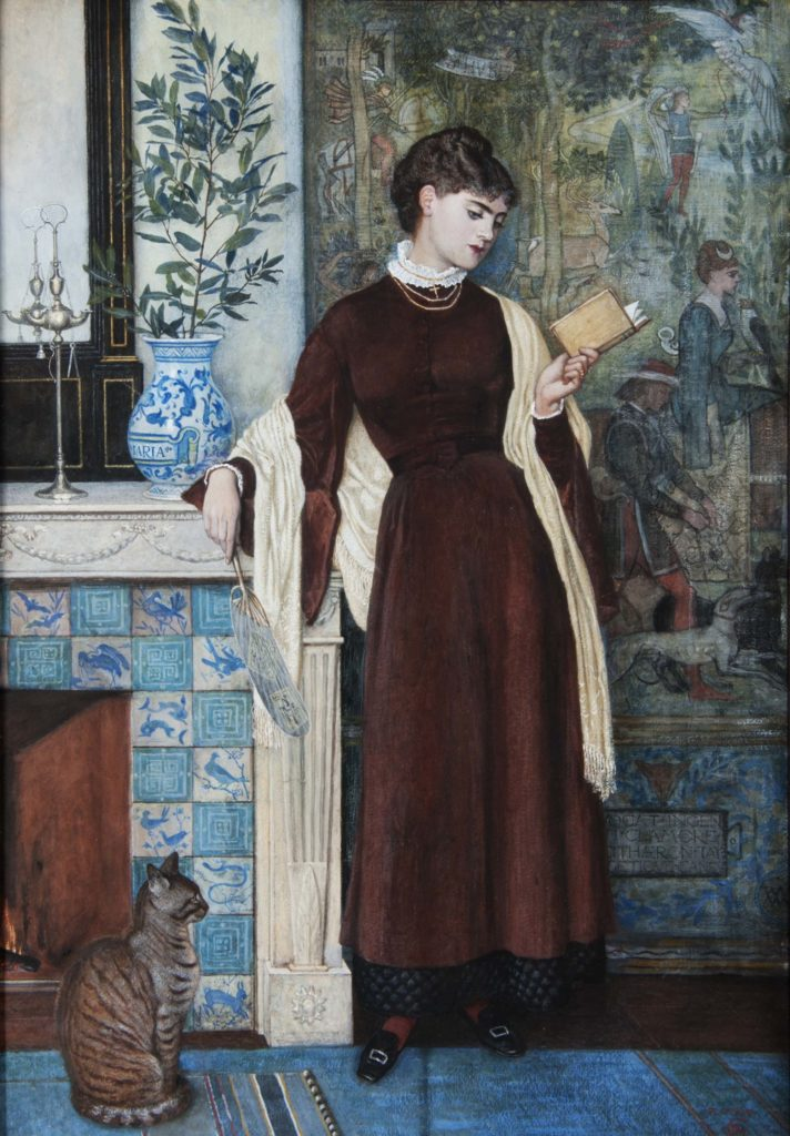 a painting of woman in a long Victorian dress reading a book as she stands next to a fireplace in an aesthetic interior