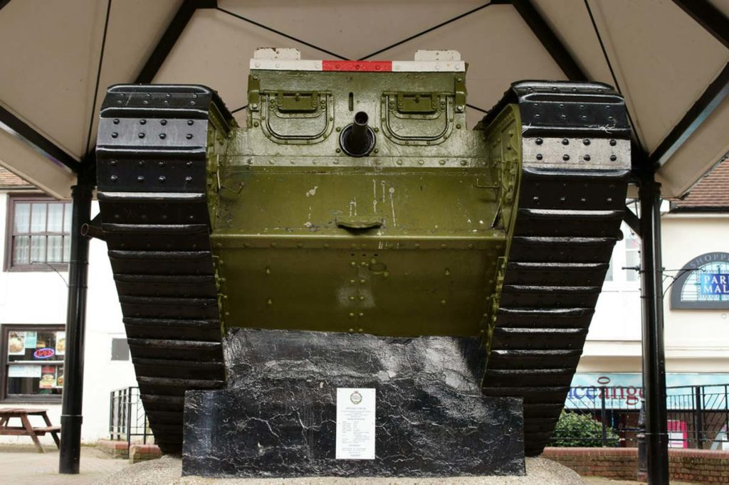 a photo of a tank in a public shelter in a town square