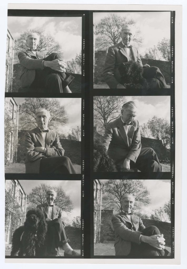 a contact sheet of black and white images of a man and a dog
