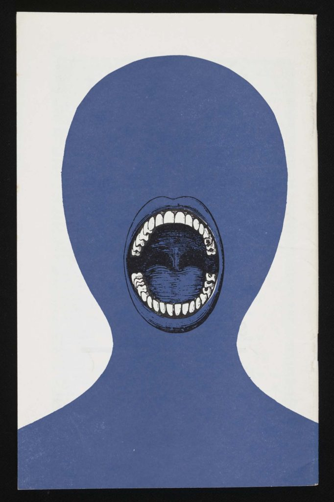 a magazine cover featuring a blue featureless figure apart from an open mouth full of teeth