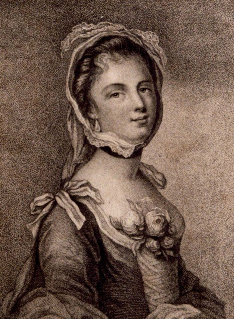 an egraving a young woman in a bonnet and seventeenth century dress