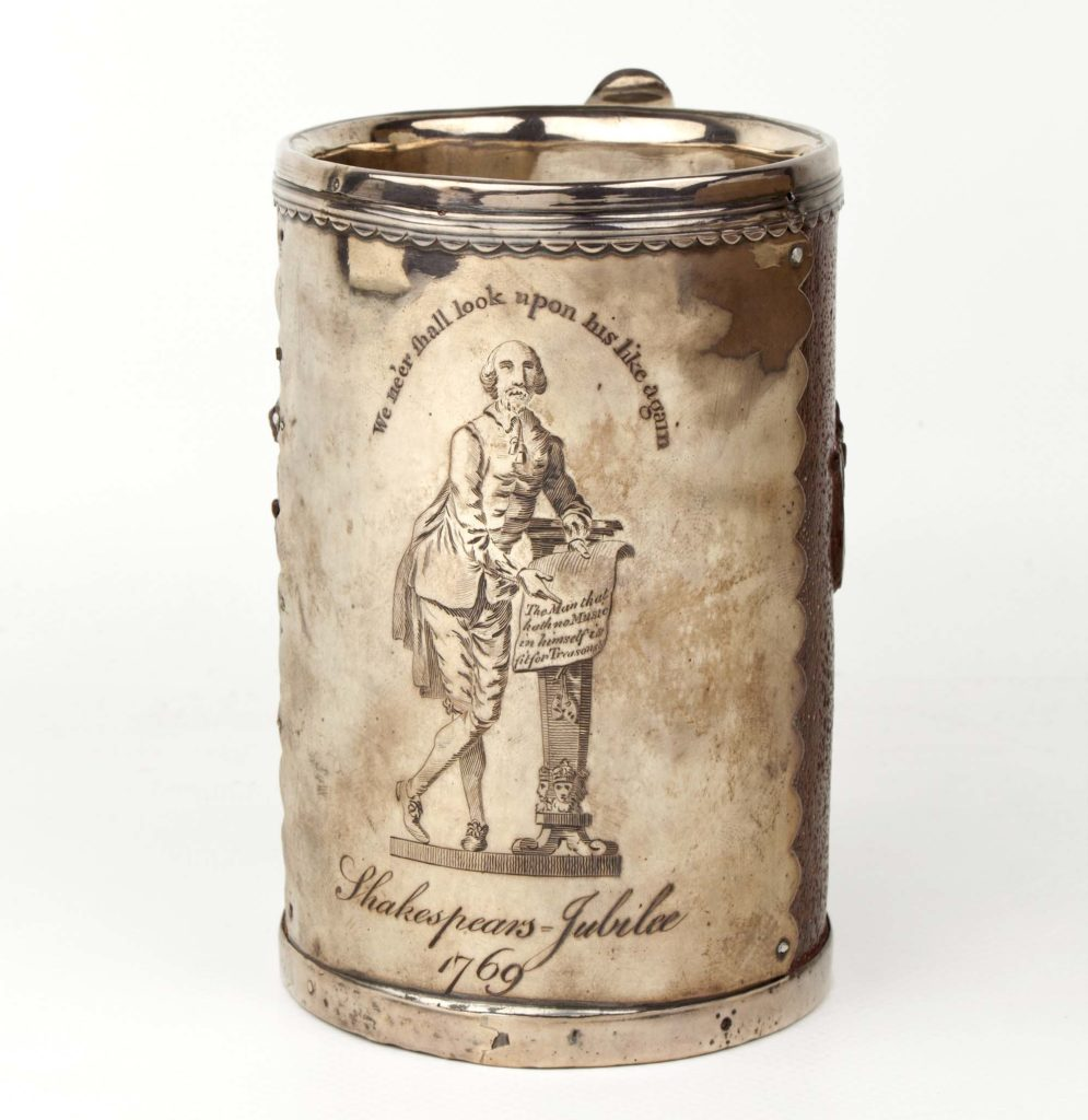 a photo of an old tankard with the image of Shakespeare on it