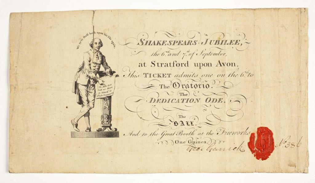 a ticket with the image of Shakespeare printed onto it
