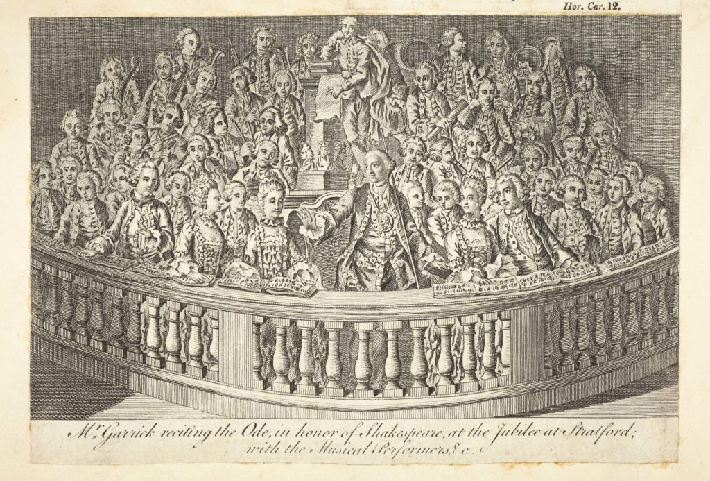 an engraving of a group of wigged men and powdered women grouped onto a balcony