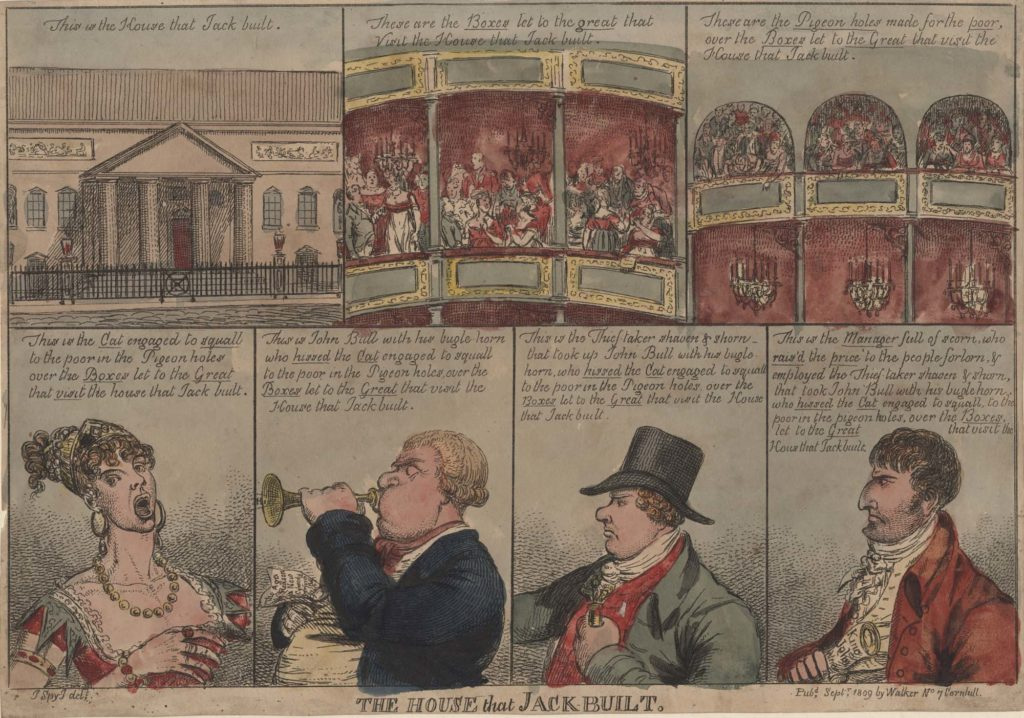 a Georgian panel cartoon showing the different clientele of a theatre