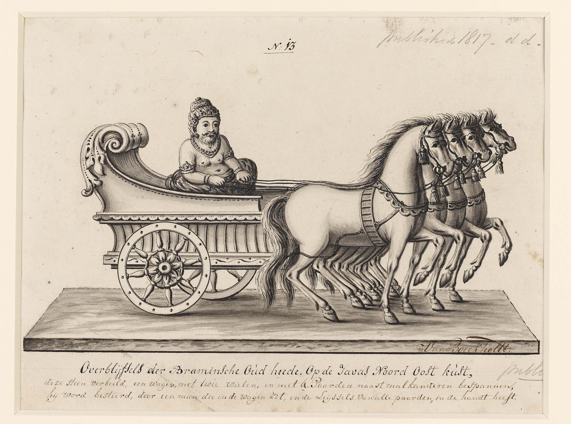 a drawing of a hindu god riding a chariot pulled by four horses