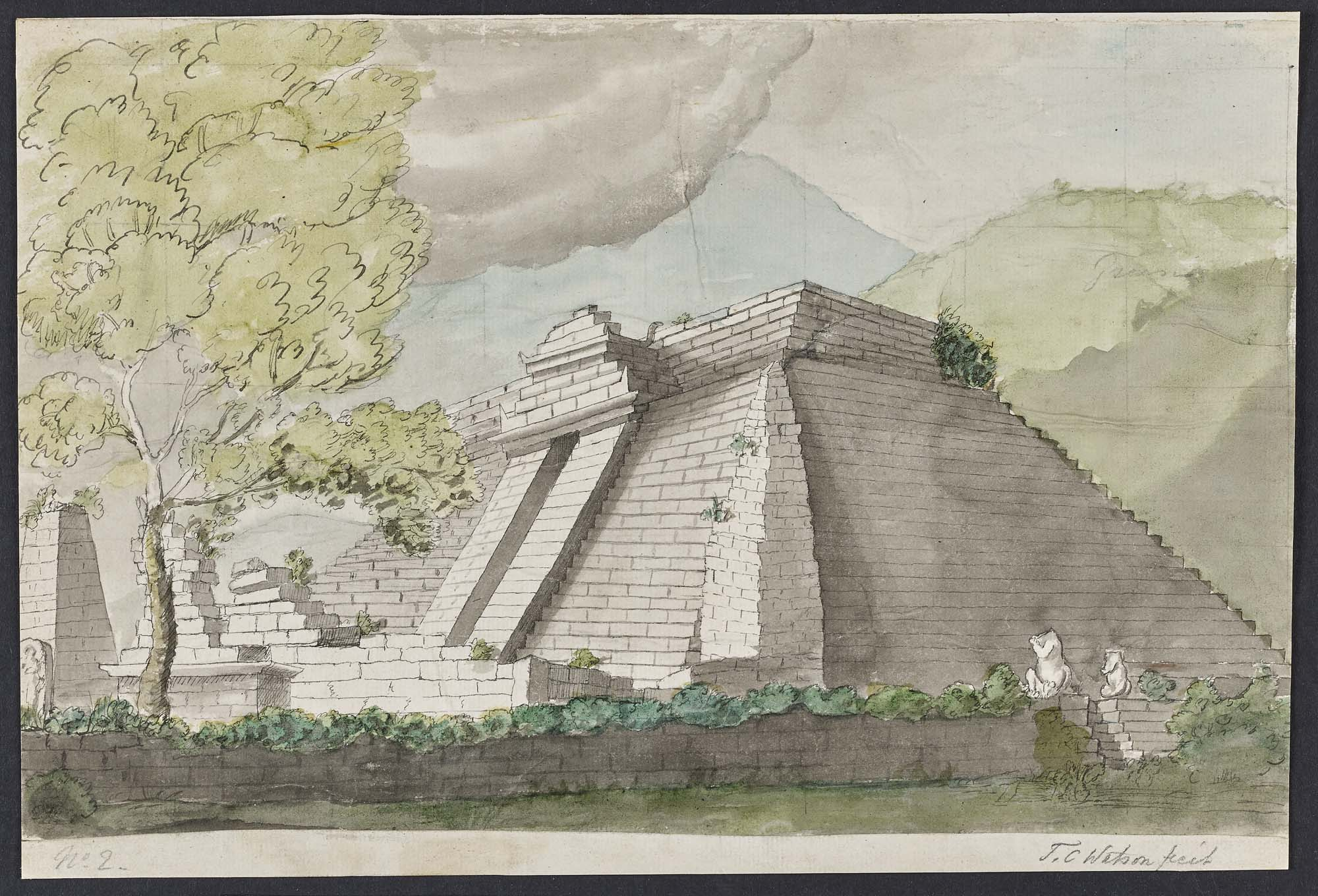 a watercolour of a Javan temple