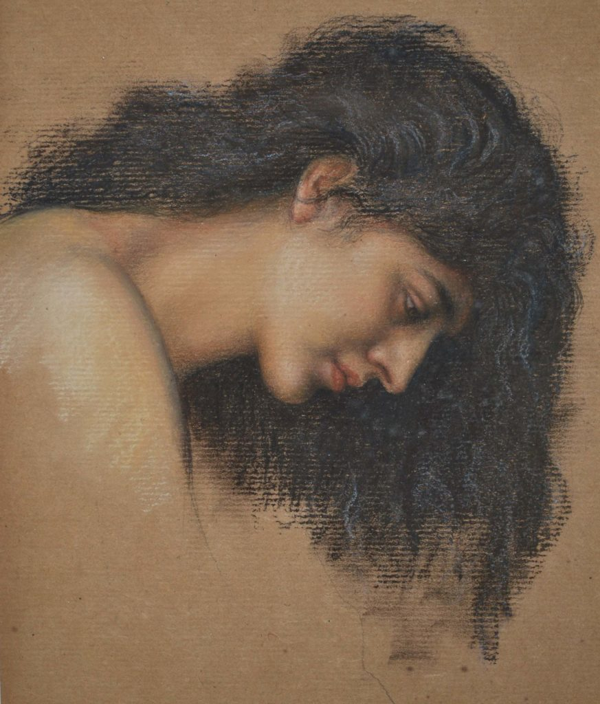 a dawing of a woman with head bowed and long hair falling