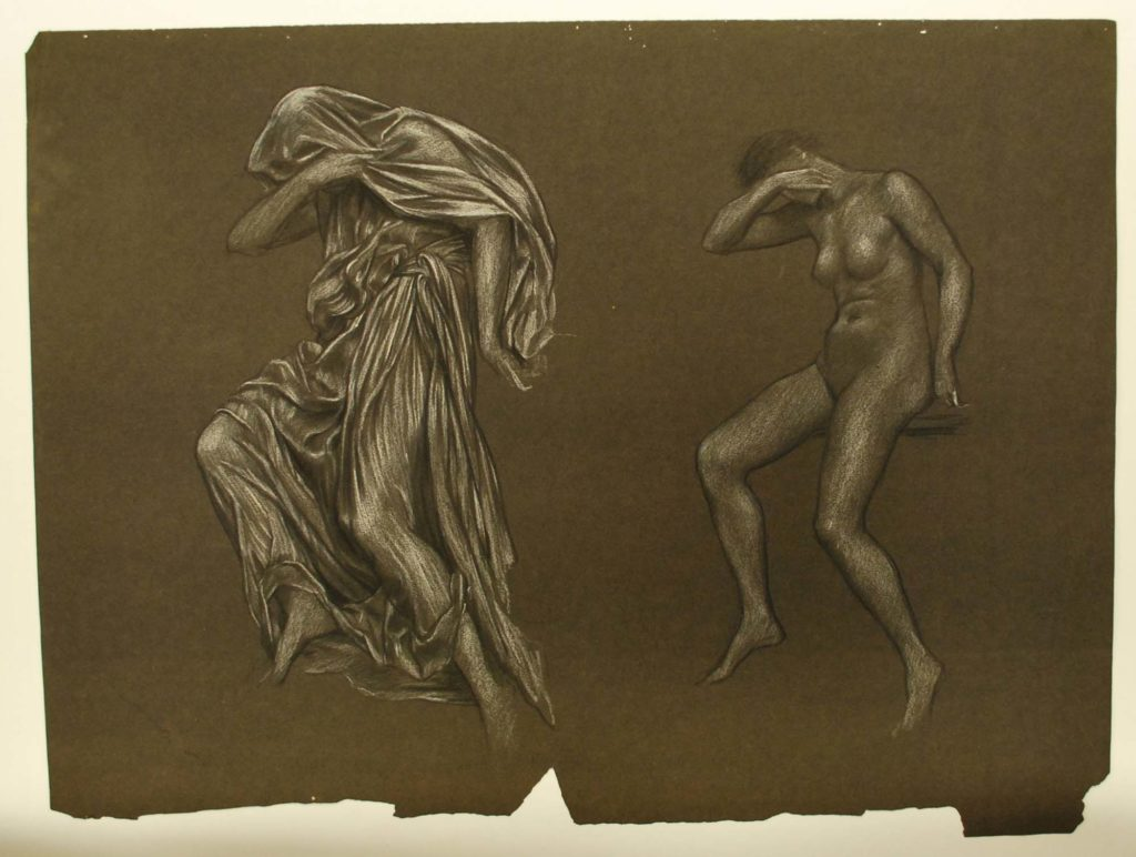 a charcoal sketch of naked female model and the same draped in silk