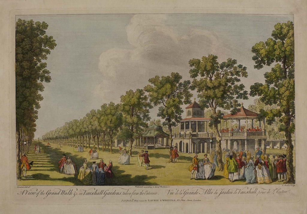 a watercolour print of a busy public garden