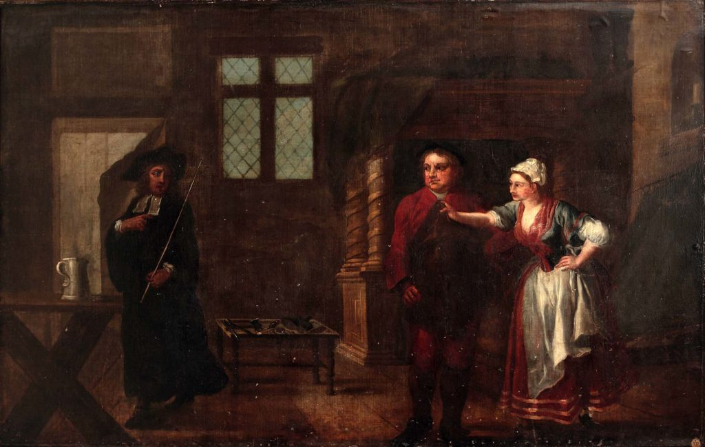 an pil paintig of a stage scene with two men and women in a bare Georgian interior